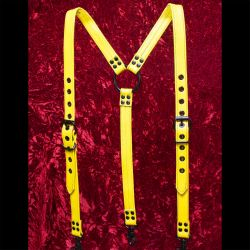 Yellow Leather Suspenders
