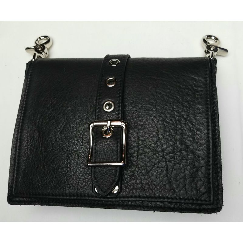Men's Black Leather Hip Bag
