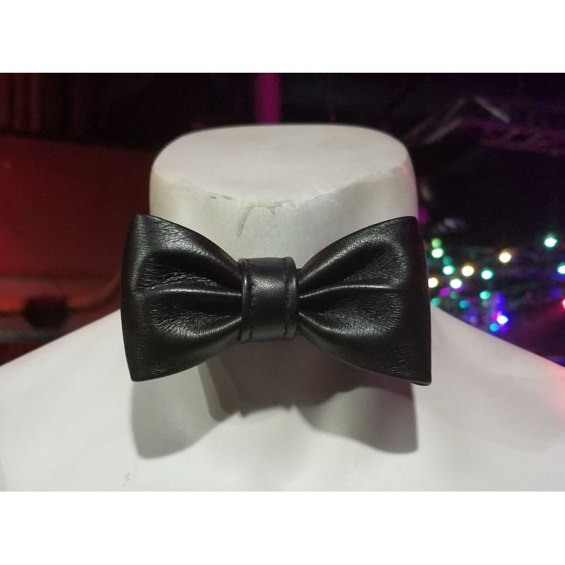 Black Leather Bow Tie