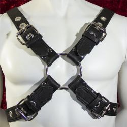 Black Leather Buckled Chest Harness with Silver Hardware for Men