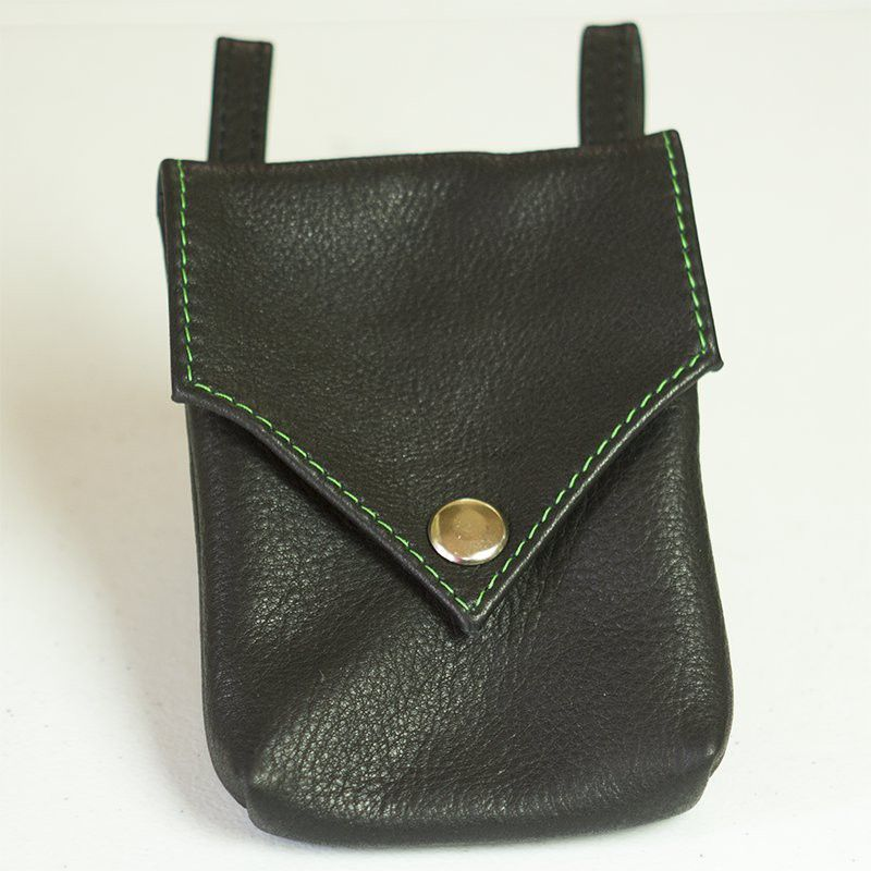 """Singleton"" Black Leather Bag, shown with custom stitching"