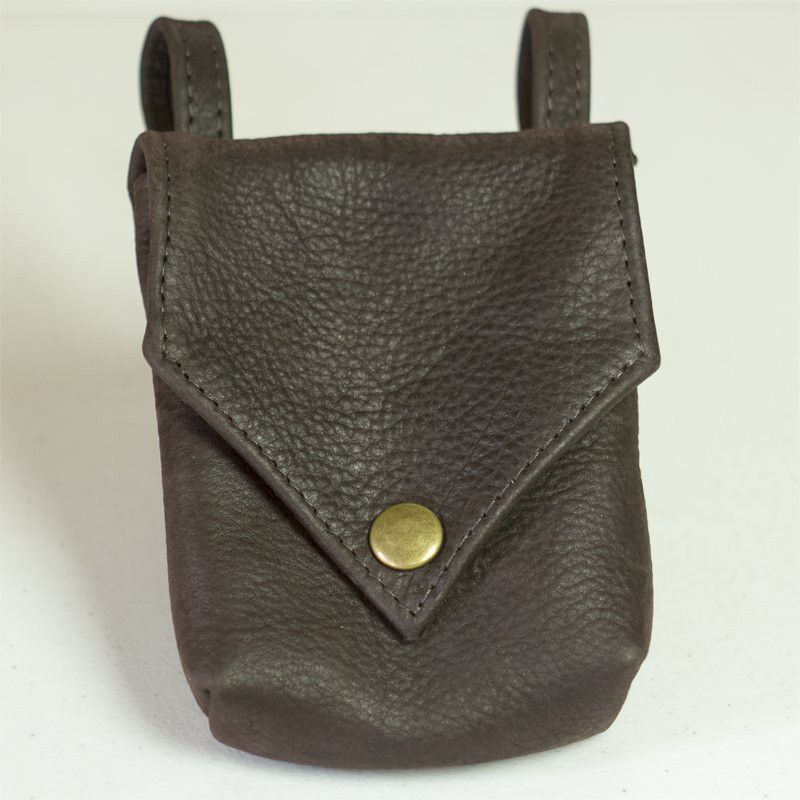 """Singleton"" Brown Leather Bag, shown with Antique Gold hardware"